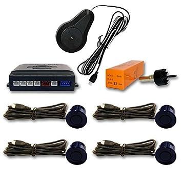 AUTOOUTLET Sensor aparcamiento 4 detectores ultrasonidos Azul Marino y avisador acústico: Amazon.es: Coche y moto