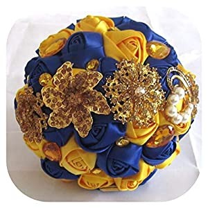 Memoirs- Gorgeous Gold Brooches Wedding Bouquet Silk Roses Satin Bridal Bouquet Jewelry Colorful Bride 'S Bouquet Luxury Yellow Red Blue,Yellow and Blue 91