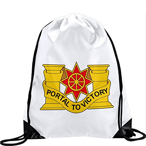 1612 Sb (Large Drawstring Bag with US Army 10th Transportation Battalion, DU - Long lasting vibrant image)