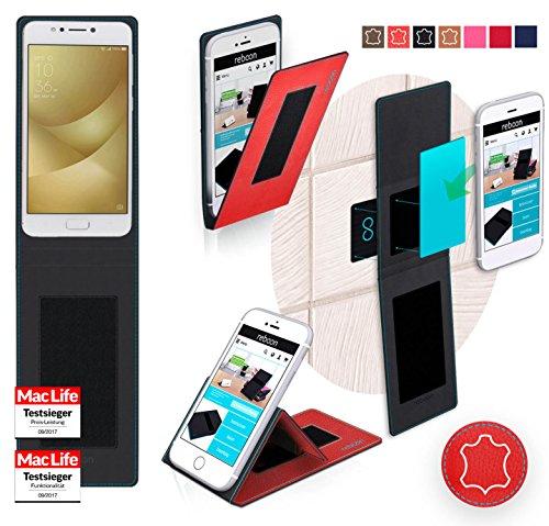 Funda para Asus ZenFone 4 Max 5.2 en Cuero Marrón Vintage - Innovadora Funda 4 en 1-Anti-Gravedad para Montaje en Pared, Soporte de Tableta en Vehículos, Soporte de Tableta - Protector Anti-Golpes par Cuero Rojo