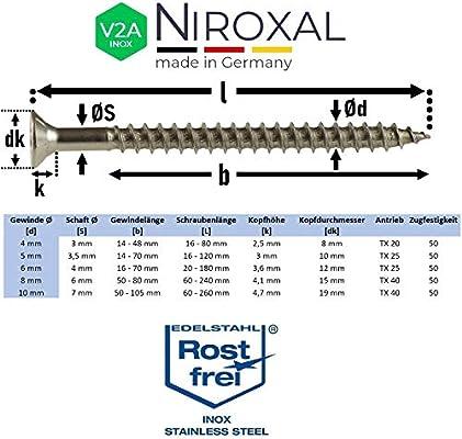 tutte le lunghezze delle viti molte quantit/à di pezzi filettatura vite in legno Multicolore Viti TORX a testa svasata in acciaio inox V2A