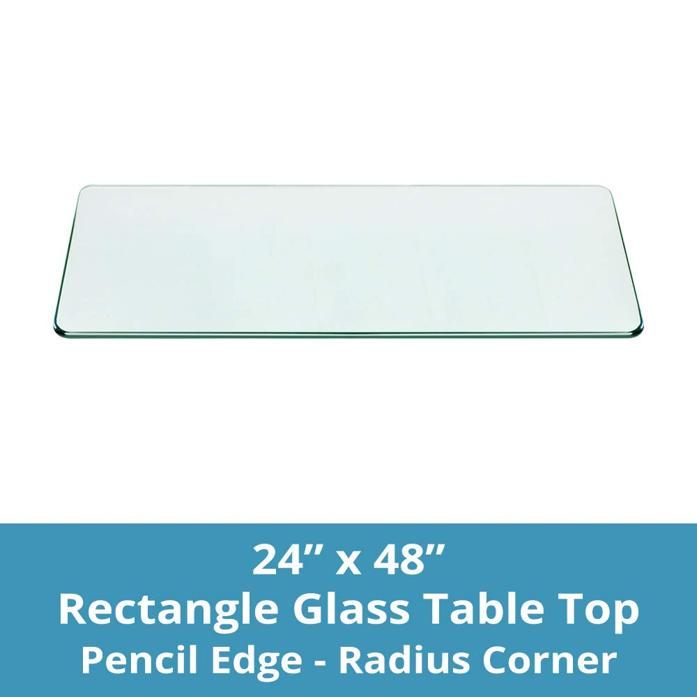 TroySys Rectangle 3/8 Inch Thick Pencil Polished Tempered Glass Table Top Radius Corner, 24'' L X 48'' W