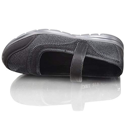 Womens Weight Less Air Tech Ladies Trainers Slip On Pumps Moccasins Girls Shoes Sizes Black Velcro Bg44z
