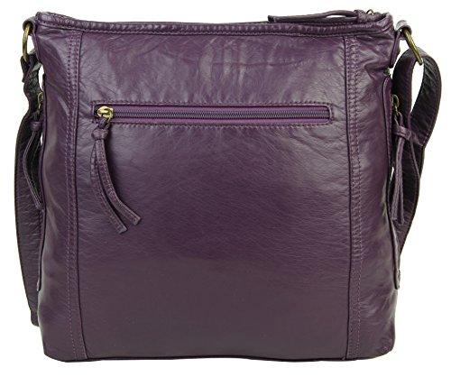 Shoulder Bag Soft Leather Purse Multiple Zip with Crossbody Purple Pockets Vegan for Women FZTBqO