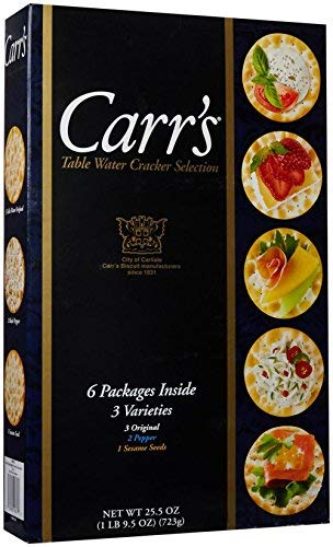Carr's Table Water Cracker Selection, 6 Packages of 3 Varieties Inside, 1lb 9.5 oz. Box-SET OF 3
