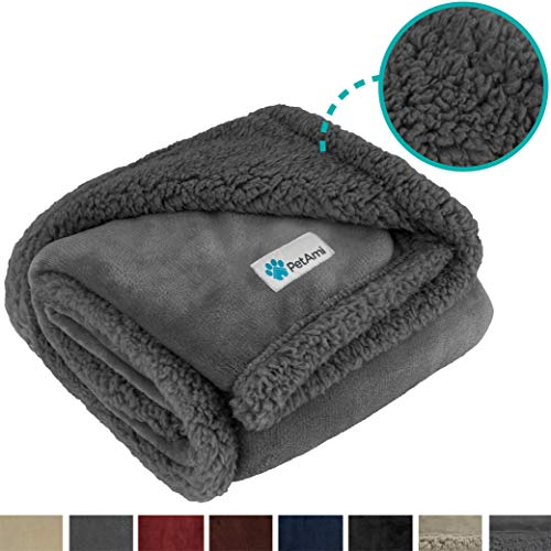 PetAmi Dog Blanket, Sherpa Dog Blanket | Plush, Reversible, Warm Pet Blanket for Dog Bed, Couch, Sofa, Car (Grey/Grey Sherpa, 50x40 Inches)