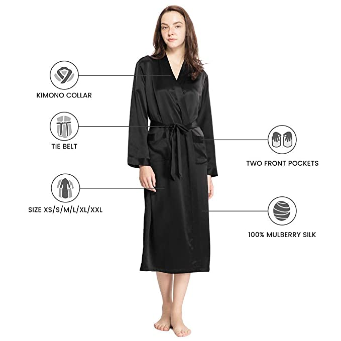 LilySilk Women s Silk Robe Long 22 Momme Pure Silk at Amazon Women s  Clothing store  3a3d50e3e
