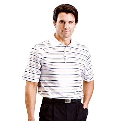 Monterey Club Mens Dry Swing Multi Color Thin Stripe Texture Polo Shirt #1628 (White/Navy, 2X-Large)