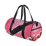 U LIFE Happy Valentines Day Heart Love You Floral Flowers Sports Gym Shoulder Handy Duffel Bags for Women Men Kids Boys Girls