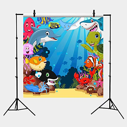 Fanghui 6x6FT Shark Baby Photography Background Undersea World Whale Starfish Seahorse Cartoon Backdrops for Pictures Baby Shower Birthday Party Vinyl Banner Decoration Supplies Photo Booth -