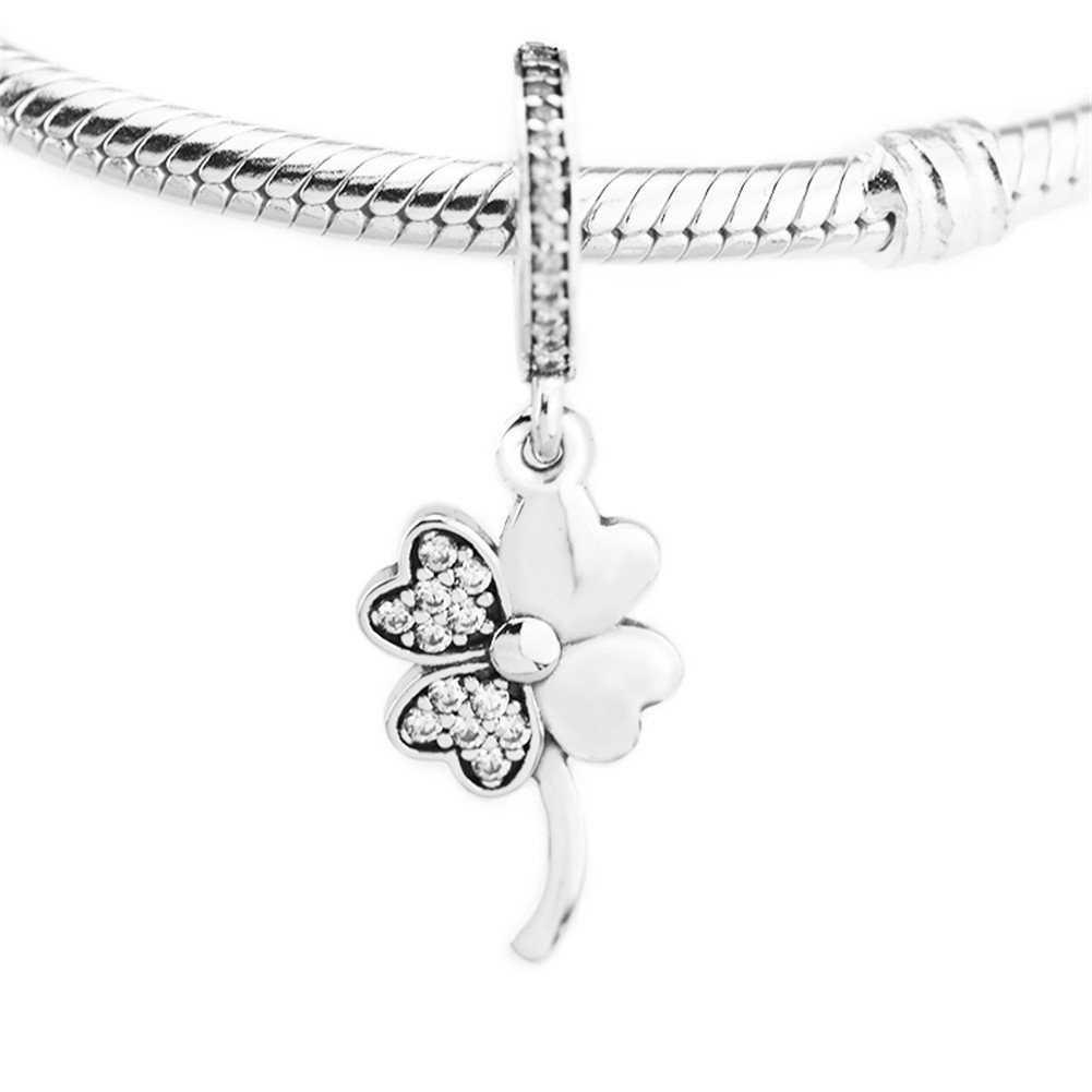 a478eb9f2 Amazon.com: CKK Good Luck Four Leaf Clover Dangle Charm 925 Sterling Silver  Petals of Love Beads Fits Pandora Bracelet Necklace Jewelry Making Gift for  ...