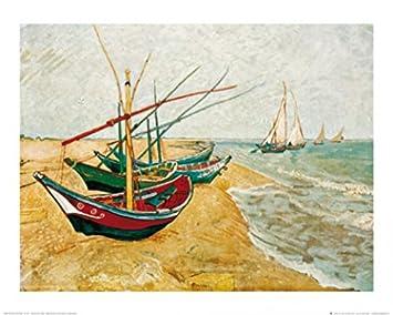 Juego de toallas de: Vincent Van Gogh, barcos de pesca en la zona de la playa ...