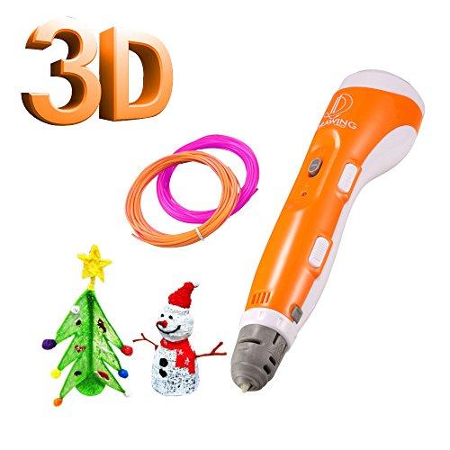 3D Doodler Pen, IDRAWING 3D Printing Pen for Kids & Adults Portable Drawing Printer Pen with 2 PLA Filament Refills(Random Colors) DIY Arts Crafts Perfect Gift - Orange