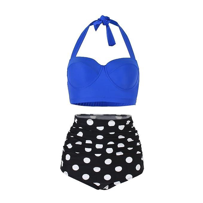 FeelinGirl Lunares Push Up Vintage Talle Alto Conjunto de Baño Bikini para Mujer Azul/Negro