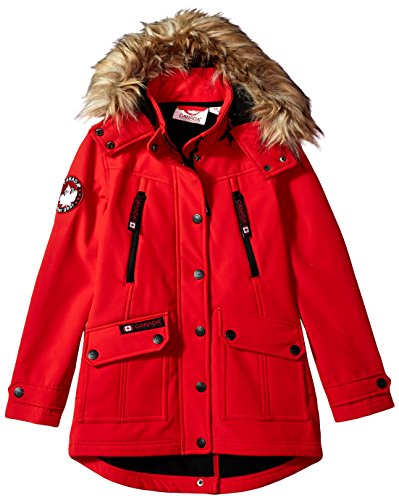 Canada Weather Gear Big Girls' Long Outerwear Jacket (More Styles Available), Softshell-CW051-Red, 7/8 by Canada Weather Gear