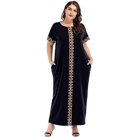 Cvbndfe Cómodo Vestido de Costura del Medio Oriente Túnica árabe Suelta Vestido de Manga Corta de