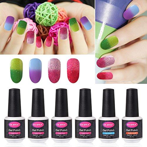 g Gel Nail Polish Set 4pcs Thermal Temperature Gel Polish Color Collection Kit with Top and Base Coat Manicure Nail Art Gift Set ()