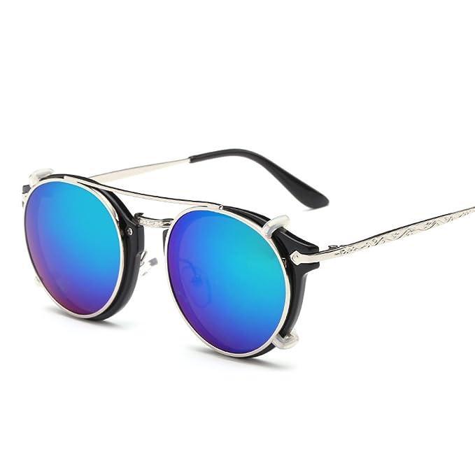 WKAIJC Retro Runden Kasten Trends Mode Persönlichkeit Bequem Anspruchsvoll Männlich Und Weiblich Doppel Sonnenbrillen,E