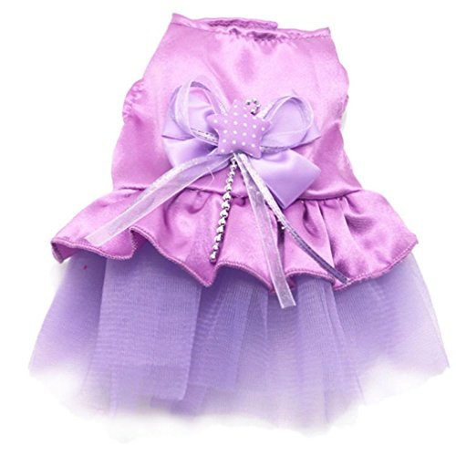 Softball Costume Princess (Sumen 2017 New Dog Cat Bow Tutu Dress Small Dog Clothes Puppy Princess Dress (Purple,)