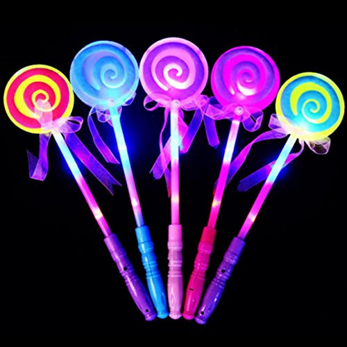 LED Fairy Wand Light-up Flashing Lollipop Magic Wand Princess Glow Stick Handhelds Luminous Toy Girl Xmas Gift for Kids Concert Party Favors Glow Toys Night Ball (Color Random) ()
