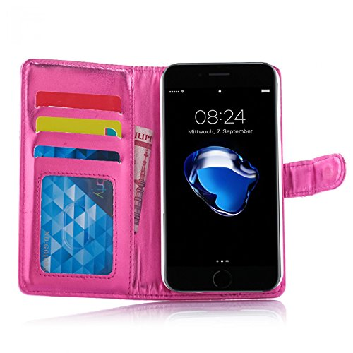 Metallic Book Style Handy Tasche für Apple iPhone 7 in Pink Schutz Hülle mit Kartenfächer und Aufstellfunktion Etui im Wallet (Portmonee) Design Flip Cover Case Bumper