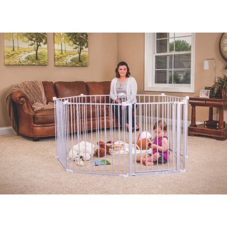 Regalo 8 Panels Extra Wide Lightweight Baby Gate and Playard with Walk Through Door - White