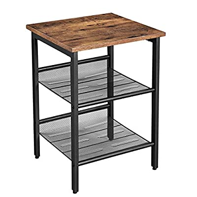 VASAGLE Industrial Nightstand, End Table with 2 Adjustable Mesh Shelves, Side Table for Living Room, Stable Metal Frame, Easy Assembly, Rustic Brown
