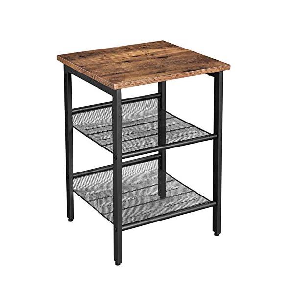 VASAGLE Table d'appoint, Table de Chevet avec 2 étagères réglables en Maille, Montage Simple, Style Industriel, pour…