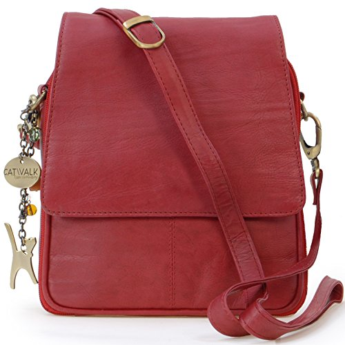 Sac cuir Catwalk Rouge besace signé type en Collection