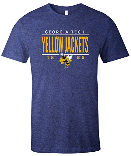 NCAA Georgia Tech Tradition Short Sleeve Tri-Blend T-Shirt, Navy,Large
