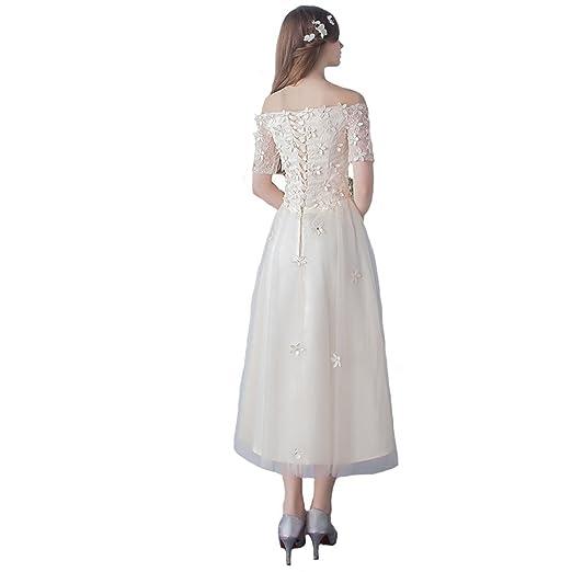 Engerla - Vestido de novia - trapecio - Floral - Manga corta - Mujer: Amazon.es: Ropa y accesorios