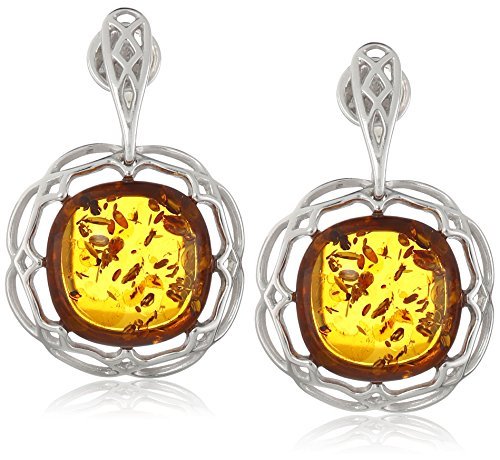 Honey Amber Sterling Silver Rhodium Plated Drop Earrings (Silver Amber Plated Earrings)