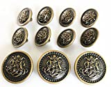 YCEE 11 Piece Vintage Antique Brass (Bronze) Metal Blazer Button Set - King's Crowned, Vine Crest - For Blazer, Suits, Sport Coat, Uniform, Jacket
