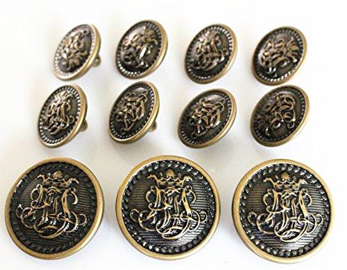 Buttons Vintage Antique - YCEE 11 Piece Vintage Antique Brass (Bronze) Metal Blazer Button Set - King's Crowned, Vine Crest - For Blazer, Suits, Sport Coat, Uniform, Jacket