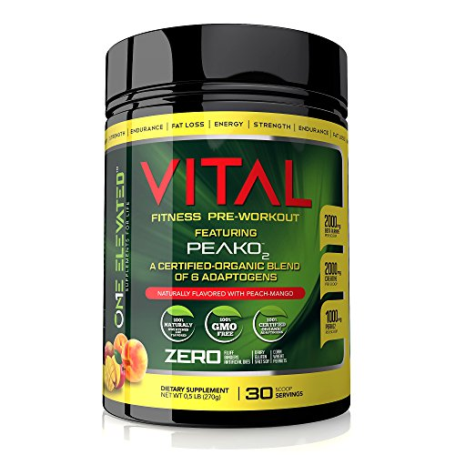 Vital Ultimate Pre-Workout Supplement with Organic Booster, Mango-Peach Flavor, 270 Grams