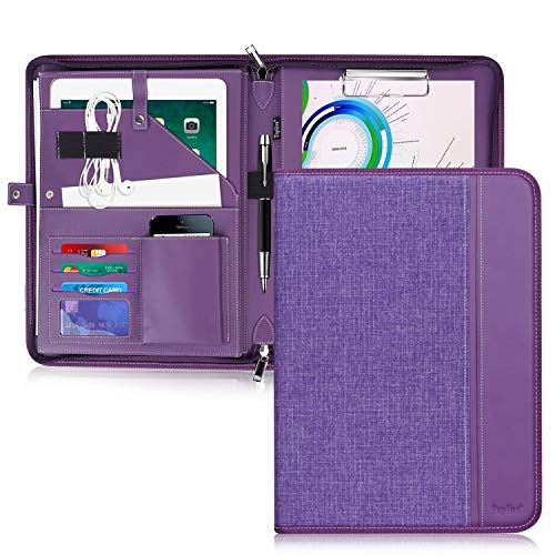 Toplive Zippered Padfolio Portfolio Case,Executive Business Conference Folder Document Organizer with Letter/A4 Size Clipboard, Business Card ()