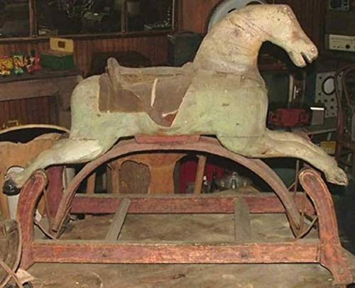 Antique Primitive Victorian Hand-Crafted Wooden Rocking Horse with Original Paint (Antique Wooden Rocking Horse)