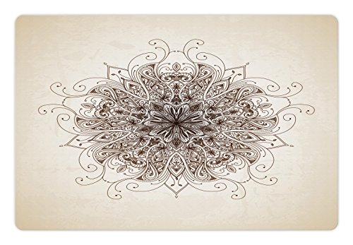 Lunarable Mandala Pet Mat for Food and Water by, Dynamic Curving Soft Lines Old Fashioned Mandala Pattern Growth Symbol Image, Rectangle Non-Slip Rubber Mat for Dogs and Cats, Sepia and Brown - Curving Lines