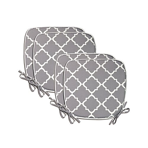 "Pcinfuns Indoor/Outdoor All Weather Chair Pads Seat Cushions Garden Patio Home Chair Cushions, 17"" X 16"" (Light Grey(4 Set))"
