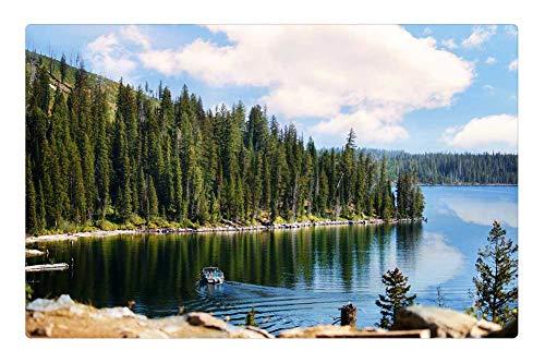 - Indoor Floor Rug/Mat (23.6 x 15.7 Inch) - Landscape Grand Tetons Lake Mountain Pines