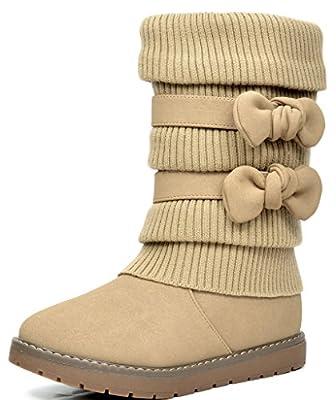 Dream Pairs KLOVE Girls Knit Sweater Winter Fur Kids Boots