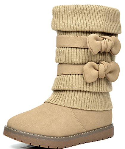 (DREAM PAIRS Little Kid Klove Khaki Faux Fur Lined Mid Calf Winter Snow Boots Size 2 M US Little Kid)