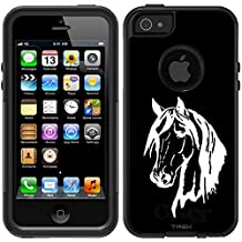 Skin Decal for OtterBox Commuter Apple iPhone 5 & iPhone 5S Case - Silhouette Horse Head on Black