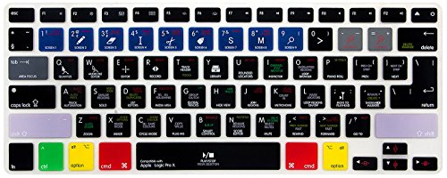 HRH Logic Pro X Functional Shortcuts Hotkey Silicone Keyboard Cover Skin for MacBook Air 13,Macbook Pro13/15/17 (with or w/out Retina Display, 2015 or Older Version)&Older iMac,USA and European Layout