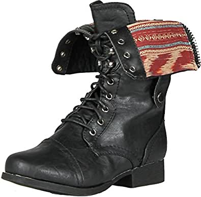 Wild Diva Women Jetta-25F Lace Up Combat Military Boots With Foldable Cuff, Black, 5
