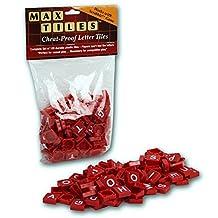 Scrabble Tiles - Full Set of 100 Cheat Proof Plastic Pro Grade Tiles (Red) - Never Use Wooden Tiles Again