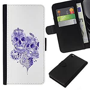 iBinBang / Flip Funda de Cuero Case Cover - Purple Ink Tattoo Skull Muerte Rose Art - HTC DESIRE 816