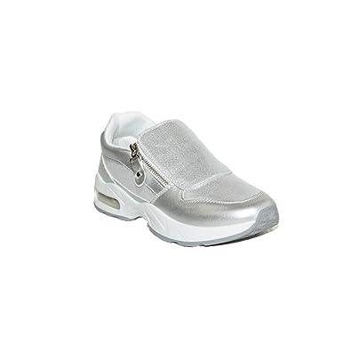 PEZZANO - Zapatilla SNEACKER B005 Zapatillas Urbanas Mujer Blancas Negras Brillos Casuales Económicas Moda Verano: Amazon.es: Zapatos y complementos