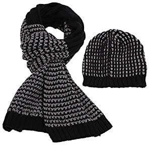 Simplicity Men's Two-Toned Ribbed Stripe Knit Hat and Scarf Set Black/Grey
