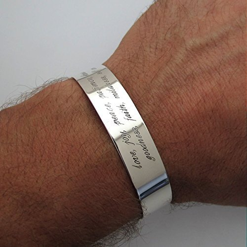 Mens Bracelet - Personalized Cuff for Men - Quote Bracelet for Him - Custom Sterling Silver Bracelet - Wide Cuff - Mens Gift - inspirational cuff bracelets for men - Boyfriend Gifts